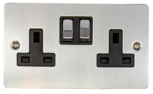 G&H FC310 Flat Plate Polished Chrome 2 Gang Double 13A Switched Plug Socket